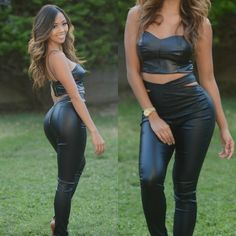 Liane V Rocking Fashion Nova Leather Suit Crop Top & Pants Hot Fashion Style Trend