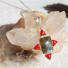 Labradorite and Coral Gemstone Pendant Necklace, Healing Stone 18 Inch Silver Necklace, One of a Kind