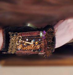Steampunk cuff - Vintage velvet and skeleton key collage embroidery wrist cuff