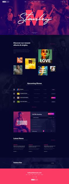 Homepage design for Music Bands & Artists Website Layout, Web Layout, Website Design Inspiration, Web Design Studio, Icon Design, Design Design, Music Website Templates, Music Websites, Band Website