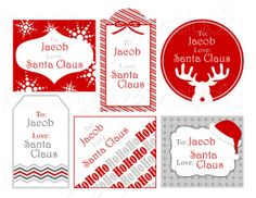 Personalized Printable Christmas Gift Tags from Santa Claus - no need to disguise your handwriting! by punchypaperstudio, $7.00