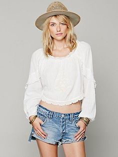 Free People Ruffle Sleeve Embroidered Blouse