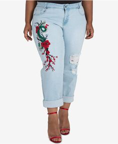 4b5cadc67a9 Poetic Justice Trendy Plus Size Halle Embroidered Boyfriend Jeans  Embroidered Mom Jeans