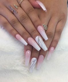 These Amazing Ombre Coffin Nails Design For Summer Nails You Cant Miss! These Amazing Ombre Co Marble Acrylic Nails, Coffin Nails Matte, Summer Acrylic Nails, Best Acrylic Nails, Summer Nails, Summer Stiletto Nails, Pointy Nails, Pink Ombre Nails, Pink Tip Nails