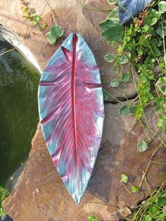Canna Concrete Leaf Blue Pantina and Pink by LeafMeAloneCrafts, $21.95