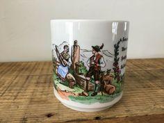 Vintage German Ceramic Coffee Mug Cup Couple German Saying #Unbranded