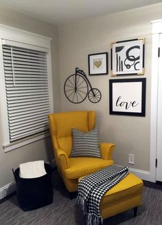 Yellow ikea chair and rug, throw and pictures are from Hobby Lobby.