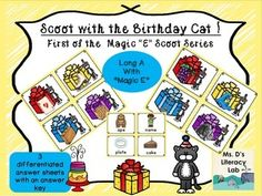 """It's time for fun with the Birthday Cat ! Students will """"open"""" the presents and write the name of the present inside. As they hop through this colorful scoot, students will get additional practice with the """"Magic E"""" vowel pattern.This packet includes 16 Scoot cards, 3 answer sheets (Magic """"E"""" pattern on one sheet, varied letters omitted (see preview above) and pictures with an open space for writing all the letters in a word), and a teacher answer key."""