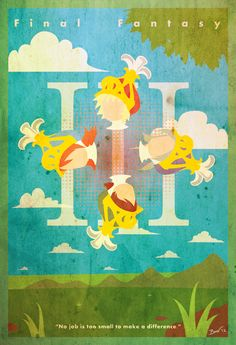 """Final Fantasy III Vintage Poster. """"No job is too small to make a difference."""""""