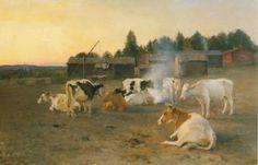 Finnish cows - Eero Järnefelt - Cows in Turf Smoke, 1891 - Finland Scandinavian Paintings, Scandinavian Art, Pierre Bonnard, Mary Cassatt, Camille Pissarro, Vincent Van Gogh, Henri Matisse, Claude Monet, North Europe