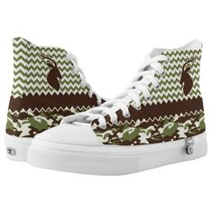 reputable site aa4a2 0f9f5 Chevron Deer Buck Camouflage High-Top Sneakers   Zazzle.com