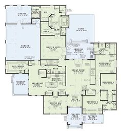 Brittany Lane House Plan - more than we'd need, a safe room isn't necessary and the master suite is over the top, but I like the overall plan.
