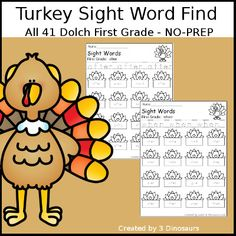 3 Dinosaurs - Turkey Sight Word Find - all 41 Dolch First Grade Sight Words. Sight Words Printables, Free Printables, Fourth Grade, Second Grade, Thanksgiving Activities For Kids, First Grade Sight Words, Teacher Pay Teachers, Book Activities, Kindergarten