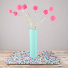 Mint green vase with pink pom pom flowers  Lace by berryisland