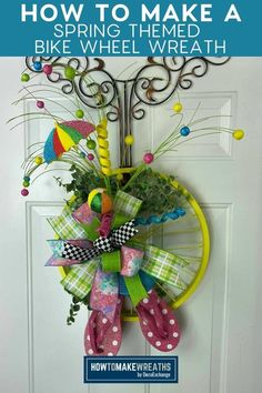 Learn how to make this simple and fun spring bike wheel door hanger and add this to your spring home decor! Deco Mesh Ribbon, Wreath Hanger, Wreath Supplies, Spring Home Decor, Bike Wheel, Front Door Decor, How To Make Wreaths, Fun Projects, Bows