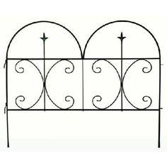 Garden Fence Panel, Decorative Finial, Black Steel, 30 X 36 In.