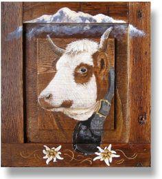 tableau peinture vache tarine de nos montagnes deco chalet peintures par peinture chalet. Black Bedroom Furniture Sets. Home Design Ideas