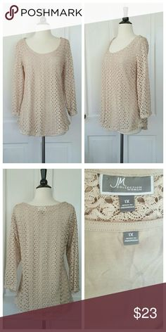 JM Collection Beige Lace Top JM Collection beige lace top with attached camisole. Camisole can be easily clipped free for wearing with other tops. JM Collection Tops