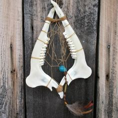 "Handmade Rustic Deer Jaw Bone w/Teeth Dreamcatcher 15"" Natural Feathered Cabin #Handmade"