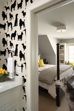 Dog-themed bathroom and bedroom