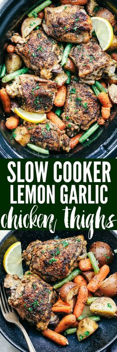 Slow Cooker Lemon Garlic Chicken Thighs and Veggies is a hearty and flavorful meal! Filled with tender veggies and tuscan herbed spice chicken that all get cooked in a lemon garlic sauce.