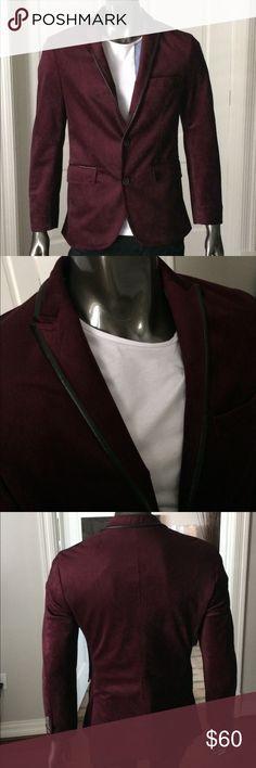 INC -Mens Red Velvet Blazer w/blk leather trim INC - Mens Red Velvet Blazer w/blk leather trim - Size: S INC International Concepts Suits & Blazers Sport Coats & Blazers