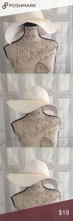 Charming Charlie NWT White Boho Summer Hat Looks like straw but is actually made out of paper. Still has the $22  price tag on it. Perfect summer hat with the wide brim. Gold chain detail. Charming Charlie Accessories Hats