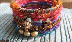 Gypsy Sari Silk Ribbon Bangle Bracelet Stack - Silk Wrapped Bangles - Natural Freshwater Pearls Rhinestones Bangle Bracelet - Gypsy Bracelet