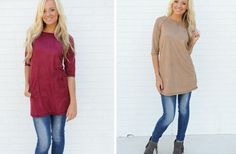 GroopDealz   Suede Pocket Tunic - 2 Colors!