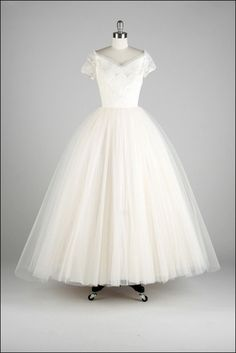 Vintage 1950s White Tulle Princess Wedding Dress by millstreetvintage, $625.00