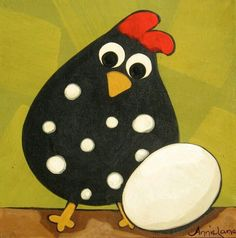 Chicken with an egg painted rock idea