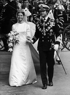 Still going strong:Queen Silvia And King Carl XVI Gustaf on their wedding day; the couple...