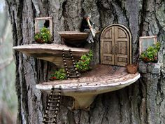 Photoshop Submission for 'Tree Mushrooms' Contest Fairy Tree Houses, Fairy Garden Houses, Gnome Garden, Potager Garden, Fairy Garden Doors, Fairy Doors, Garden Crafts, Garden Projects, Garden Ideas