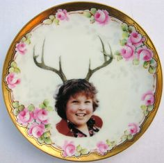 Deer Ol' Chunk Portrait   Altered Antique Plate by BeatUpCreations, $39.00