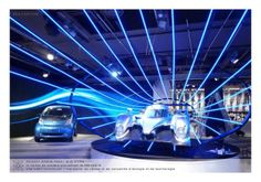 BLUE STORM by studio noisette , via Behance  Peugeot 908 display in Paris - really like the blue lights coming out of the car plinth. Excellent design - really eye catching