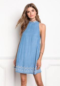 Blue Keyhole Embroidered Shift Dress - Dresses