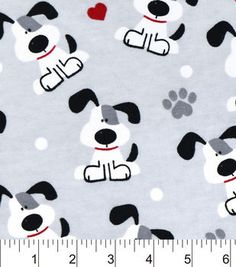 Snuggle Flannel Fabric-Pups And Hearts