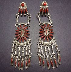 Signed Vintage ZUNI Sterling Silver & CORAL Fine Needlepoint Chandelier EARRINGS