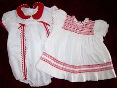 Vintage baby Girls Dress & Romper (red & white) smocking 12 mo. #Carters
