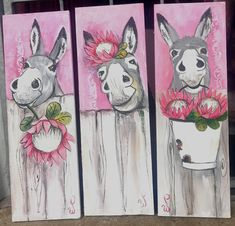 Sweet Cow, Chicken Art, Cool Rocks, Paint And Sip, Painting Lessons, Diy Arts And Crafts, Watercolor Cards, Donkey, Rock Art