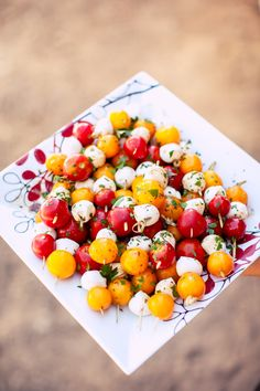 Pretty plate of caprese skewers.