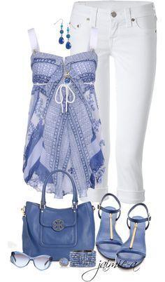 Синий Белые джинсы Синяя сумка Синие босоножки