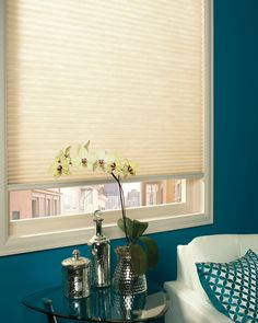 Hunter Douglas Applause honeycomb shade can be ordered as blackout shades when ordering the right fabric. This example is also a cordless shade that fits snugly into the window. See more honeycomb or cellular shades by visiting the link below. Cellular Blinds, Cellular Shades, Sheer Shades, Shades Blinds, Window Coverings, Window Treatments, Hunter Douglas Blinds, Honeycomb Shades, Honeycomb Blinds