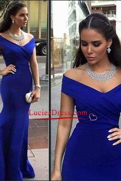 2016 Prom Dresses Off The Shoulder Satin Mermaid Dark Royal Blue Sweep Train