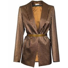 JIRI KALFAR - Gold Brown Jacket (3.105 NOK) ❤ liked on Polyvore featuring outerwear, jackets, blazer, tops, coats, fitted jacket, brown jacket and gold jacket