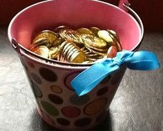 """OCD Girl Scout Leaders- Bucket of Respect.  Introduced during the Magenta """"Respect Authority"""" Petal.  Girls earn coins for respectful behavior to lead up to a group reward."""