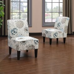 Portfolio Wylie Armless Chairs in a Blue Floral (Set of 2) | Overstock.com