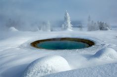 Yellowstone in winter | Yellowstone and its many geysers sit in a massive volcanic caldera.