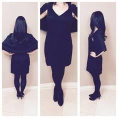 """🎄HP 12/6 🎄Black Mini Capelet Dress 100% Polyester. This sleeveless, v-neck dress features a bold cape that connects mid-armhole, then wraps all the way around the back for superior style. Runs small. Bust: 35"""" Waist 27"""" Hips: 36"""". Sizes available in S,M,L. Jealous Tomato Dresses Mini"""