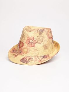 Flower print straw hat